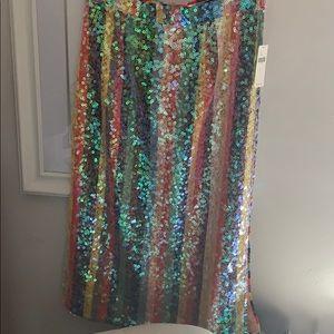 Anthropologie rainbow stripe sequin pencil skirt
